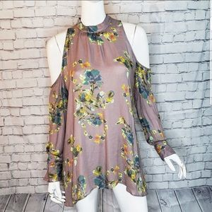 Free People Purple Cold Shoulder Floral Tunic